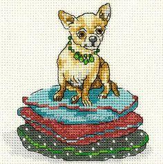Buy Chihuahua on Cushion Pile Cross Stitch Kit Online at www.sewandso.co.uk