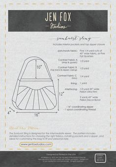 Sewing Pattern: Sunburst Sling PDF download large bag with