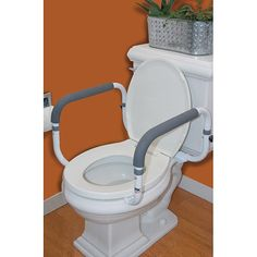 Safely sit or stand at your toilet with this Carex compact toilet support rail featuring comfortable and easy to clean Hypalon cushioned grips. This easy to assemble rail fits a wide range of toilets and has adjustable handle widths. Ada Bathroom, Bathroom Safety, Tiny House Bathroom, Bathroom Toilets, Bathroom Faucets, Bathroom Ideas, Bath Ideas, Handicap Toilet, Handicap Bathroom