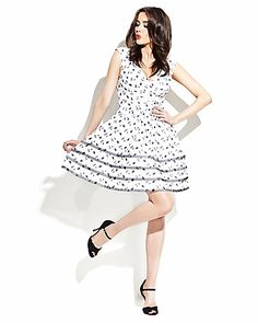Get a playful look in Betsey Johnson's floral-dot printed dress!