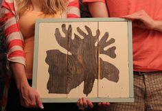 Reclaimed Wood Moose Silhouette Painting by MissMacie on Etsy, $82.00