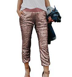 b96be576608e Napoo Women Hot Sale Sequins Elastic High Waist Pants (S
