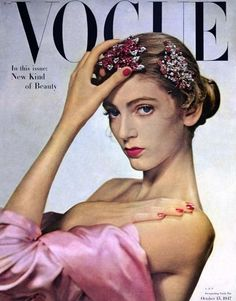 A teenaged Carmen Dell'Orefice's first Vogue cover, 1947. Photo: Edwin Blumenfeld.