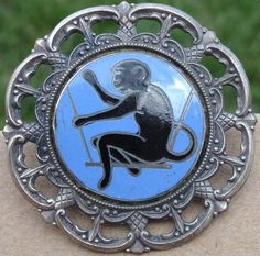 BLACK ENAMEL MONKEY~Lacey rim~Nouveau 1940s METAL VINTAGE ANTIQUE PICTURE BUTTON