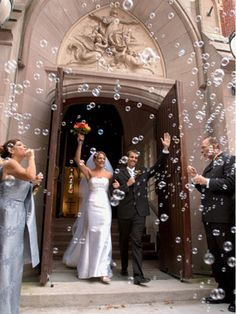 Confetti Throwing or Bubble Blowing at The Recessional    Having your guests blow bubbles or throw rose petals makes for excellent photos as you and your new husband leave the ceremony site.
