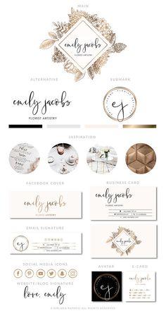 Gold Branding Package Florist Logo Design Premade