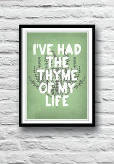 Kitchen art, Dirty Dancing, movie poster, wall decor, kitchen poster, art print, illustration, kitchen herbs