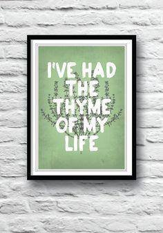 Kitchen art, Dirty Dancing, movie poster, wall decor, kitchen poster, art print, illustration, kitchen herbs