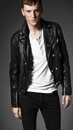 If I were a dude: Quilted Panel Biker Jacket | Burberry
