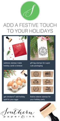 Grab a rubber or self inking holiday stamp at Southern Paper and Ink on Etsy