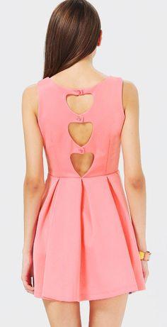 Pink Sleeveless Back Hollow Pleated Dress