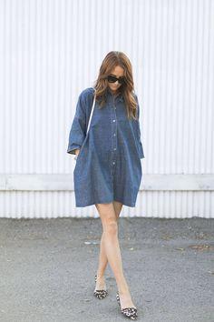 Denim Shirt Dress And Leo D'orsay Flats Outfit Idea
