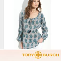 Tory Burch 'Evelina' Voile Tunic Tory Burch 'Evelina' Voile Tunic. Striped with blue and green floral print. Bought a while ago and just haven't worn it. No flaws or stains. Like new. Length is 29.5 and bust is 23.5. Feel free to make a reasonable offer. Tory Burch Tops Tunics