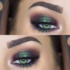 "metallic emerald green smokey eye makeup <a href=""/makenziewilder/"" title=""Makenzie Wilder"">@Makenzie Wilder</a>"