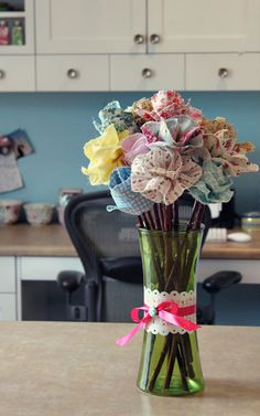 "Long Stemmed Fabric Flowers: add some color to your home décor with this fast & easy project.  This detailed photo-tutorial was posted by Anj, of ""SnowyBliss""."