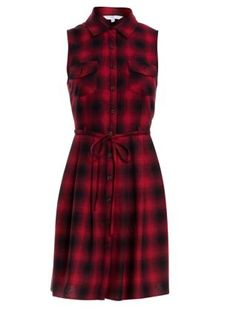 Red Pattern (Red) Red Check Plaid Sleeveless Shirt Dress   258997869   New Look