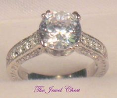 3 Ct Cathedral Solitaire Diamond Engagement Ring White gold VS1 Antique Platinum