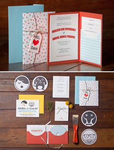 quirky wedding invite - like the letterpressed wrap and tag.