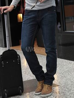 Blue Denim Handsome Straight Men's Jeans