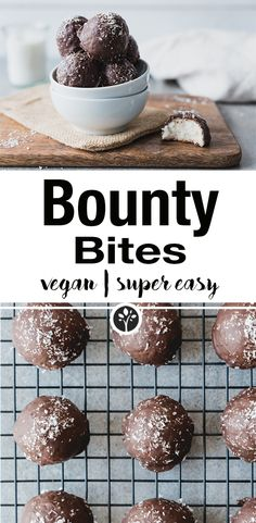 Easy peasy bounty bites with only 5 ingredients!nataschakimbe … // # bounty Easy peasy bounty bites with only 5 ingredients! Healthy Vegan Snacks, Vegan Sweets, Healthy Dessert Recipes, Whole Food Recipes, Vegan Foods, Desserts Végétaliens, Pudding Desserts, Dessert Simple, Cheesecake Bites