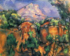 Paul Cézanne.  Montagne Sainte-Victoire, Blick vom Steinbruch Bibémus. Um 1897, Öl auf Leinwand, 65 × 81 cm. Baltimore, Museum of Art. Landschaftsmalerei. Frankreich. Postimpressionismus.  KO 01141