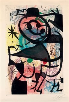 JOAN MIRO Le Pitre Rose (D. 653) etching with aquatint in colors, 1974, on Arches, signed in pencil, numbered 25/50, published by Maeght Editeur, Paris, with full margins, in very good condition, framed. Sold for USD$ 33,750.00 (Christies) P. 45½ x 29 1/8 in. (1156 x 740 mm.) S. 54¼ x 38 in. (1378 x 965 mm.)