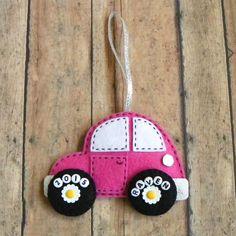 Personalized Felt Car Christmas Ornament by PaisleyMoose on Etsy https://www.etsy.com/listing/239976384/personalized-felt-car-christmas-ornament