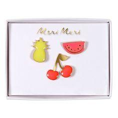 3 pins fruit en émail