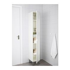 Loft - bathroom storage IKEA - LILLÅNGEN, High cabinet, white/aluminum, , A good solution with space is…