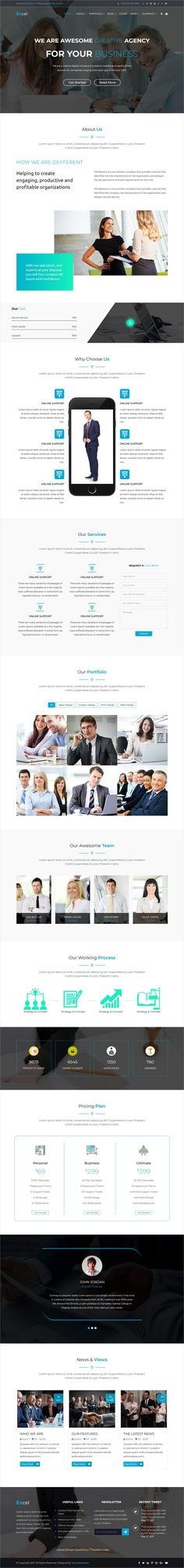 Excel is clean and modern design 4in1 responsive #Bootstrap template for business #consultancy and #financial agencies #website to live preview & download click on Visit