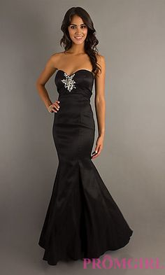 Floor Length Strapless Mermaid Gown at PromGirl.com; in purple