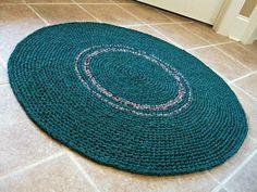 Handmade crochet rag rug. 36 inches round. Evergreen, Hunter green.