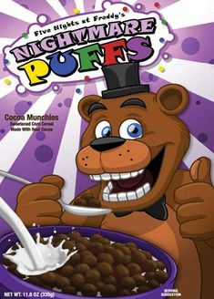From the popular indie video game series Five Nights at Freddy's.Five Nights at Freddy's Nightmare Puffs Cereal!Enjoy your cereal while playing your favorite game!Perfect for any FNAF fan! Five Nights At Freddy's, Freddy S, Fnaf 4, Funny Fnaf, Anime Fnaf, Freddy's Nightmares, Puffs Cereal, Good Horror Games, Fnaf Drawings
