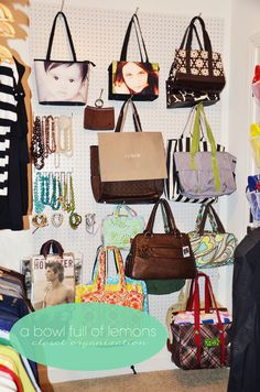 A pegboard wall holds your purses in a space-friendly way. This blogger's closet is proof that this sturdy material isn't just for the toolshed.