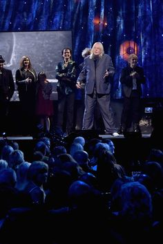 Bill Bruford Photos Photos - Inductee Rick Wakeman of YES speaks onstage at the 32nd Annual Rock & Roll Hall Of Fame Induction Ceremony at Barclays Center on April 7, 2017 in New York City. The event will broadcast on HBO Saturday, April 29, 2017 at 8:00 pm ET/PT - 32nd Annual Rock & Roll Hall Of Fame Induction Ceremony - Show