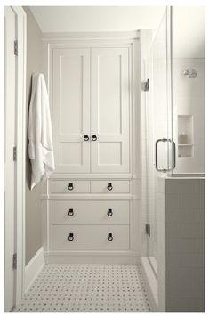 Built In Bathroom Storage, Closet Storage, Bathroom Styling, Bathroom Organization, Organization Ideas, Storage Ideas, Cabinet Storage, Storage Solutions, Smart Storage
