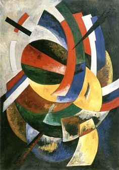 O. Exter (1882-1949).  Blue, Black, Red. 1917-18. Oil and gouache on canvas. 120 by 80 cm. Private collection, Munich.