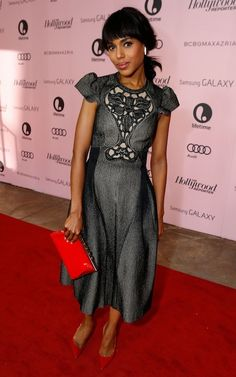 Kerry Washington...red bag & shoe.