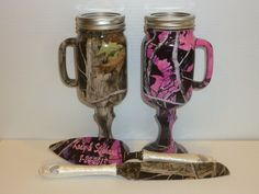 Set of camo beer mugs and  personalized wedding cake knife and serving set processed in Muddy Girl and Next camo via Etsy