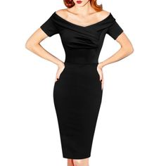 This stunning little black hourglass dress is destined to become your new best friend. Featuring a demure off-the-shoulder neckline, short sleeves, and fabulously modern asymmetrical bodice ruching, t