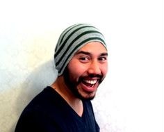 Mens Beanie Hat  Hunter Green Gey Stripe Christmas by MissTopKnot, $26.00