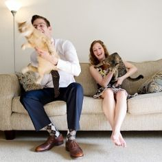 This lovely couple have two adorable cats, in our opinion pets should always be included in your engagement session!