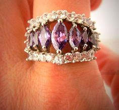 925 Sterling Silver Cocktail Ring Purple Rhinestone Marquise Cut Triple Band 8.5 #Unbranded #Statement