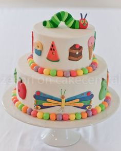 A Very Hungry Caterpillar Cake and Cupcake Toppers