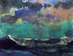 Emil Nolde -Dark Sea Green Sky - watercolor on paper Emil Nolde, Edvard Munch, Landscape Art, Landscape Paintings, Green Sky, Art Moderne, Art Graphique, Kandinsky, Art Plastique