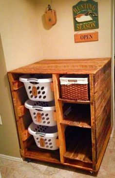 For the laundry room - basket for each child & wicker basket for missing socks etc