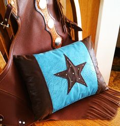 turquoise western star pillow by Lizzy & Me... beautiful western decorating