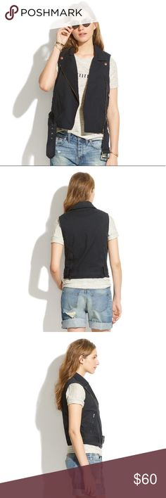 Black Madewell Cotton Tour Moto Vest Black Madewell Cotton Tour Vest *missing belt*. Perfect for spring/summer music festivals! 97% cotton, 3% elastane. Madewell Jackets & Coats Vests