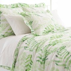 Make each morning fresh as a spring day with this cotton duvet cover adorned with delicate watercolor ferns. Pair with an array of green coordinates, or mix and match with preppy brights like our  Boyfriend matelassé coverlets,  Embroidered Hem sheets, and  Laundered Linen decorative pillows and throws.   100% cotton.  Knife edge.  Hidden button closure.