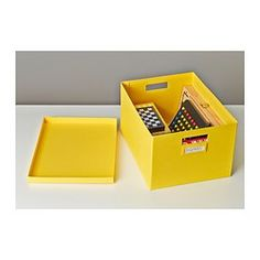 TJENA Box with lid - yellow - IKEA $3.49
